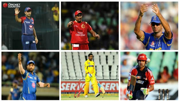 From top (left to right): Virender Sehwag (DD), Anil Kumble (RCB), Rahul Dravid (RR), Bottom row (left to right): Rohit Sharma (MI), MS Dhoni (CSK) and Gautam Gambhir © AFP