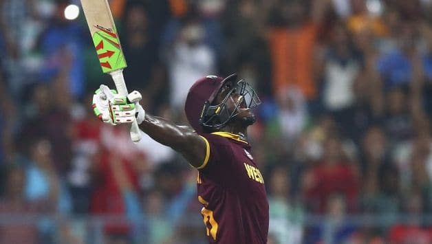 Carlos Brwathwaite slammed four consecutive sixes to lead West Indies to their second WT20I title  © Getty Images