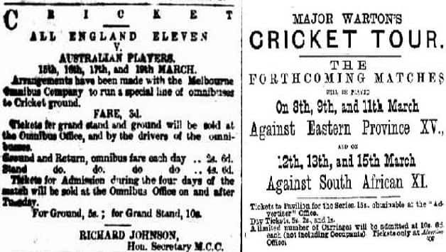 Left: Advertisement of first Test ever, between Australia and England, at Melbourne in 1877 (courtesy: Melbourne Herald). Right: Advertisement of first Test on South African soil, against England at Port Elizabeth in 1888-89 (courtesy: Wikimedia Commons)