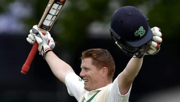 Kevin O'Brien slammed the first Test hundred for Ireland © Getty Images