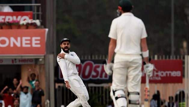 Virat Kohli mocks David Warner after his dismissal during the Ranchi Test of 2017 © IANS