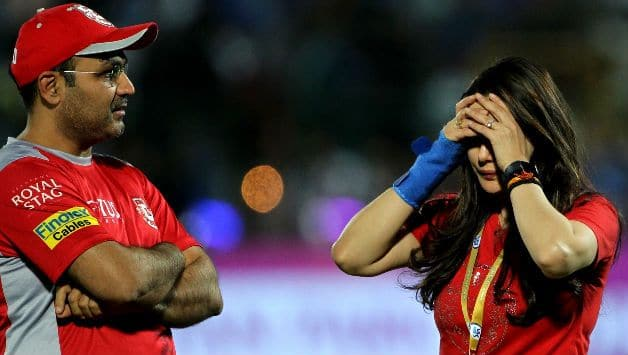 Preity Zinta with mentor Virender Sehwag  © IANS