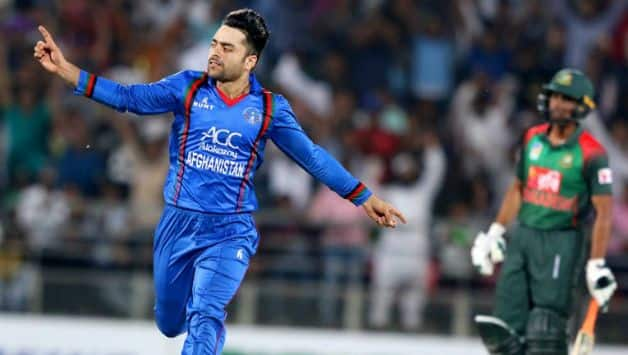 Rashid Khan was awarded the man of the math for picking 3 for 13 in the first T20I against Bangladesh  © AFP