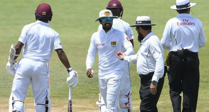 Dinesh Chandimal was caught tampering the ball by the on-field umpires © AFP