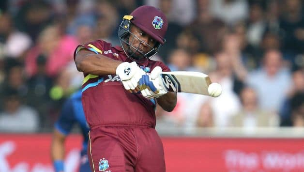 Evin Lewis was the top scorer for West Indies scoring 58 runs © Getty Images