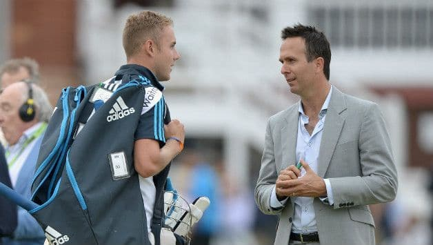 Stuart Broad (left) and Michael Vaughan (Image courtesy: Getty Images)