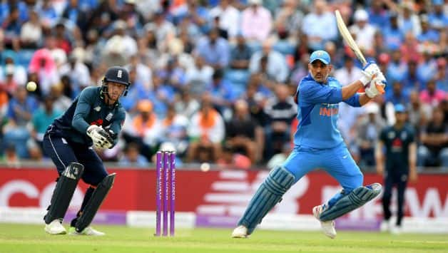 MS Dhoni scored 42 off 66 but failed to take India to a big total © Getty Images