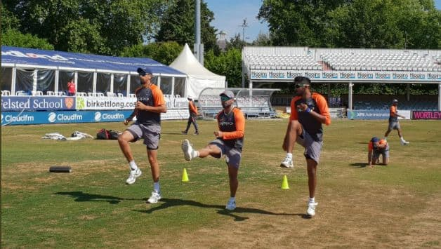 Training session of Indian players ahead of practice match © BCCI twitter account