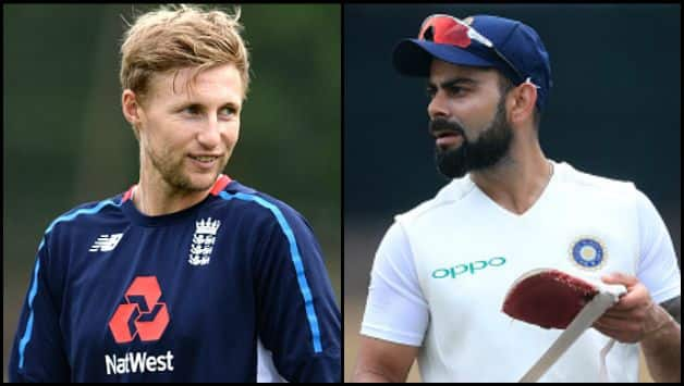 Joe Root (left) and Virat Kohli in respective practice sessions ahead of the first Test, at Edgbaston © Getty Images