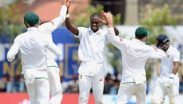 Kagiso Rabada celebrating the wicket of Angelo Mathews with teammates © Getty Images