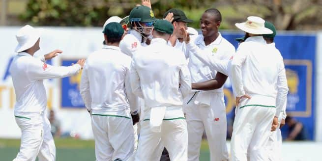 South Africans celebrating the wicket of Roshen Silva (not in picture) © Getty Images