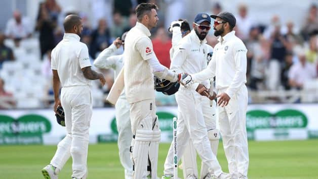 The match ending when Ravichandran Ashwin had England No 11 James Anderson caught by Ajinkya Rahane at slip -- the first wicket for an India spinner in this fixture.