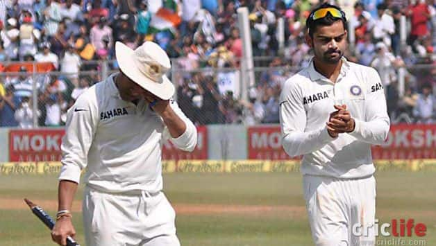 Virat lauds Sachin on the way back from the middle in his last Test against West Indies at Mumbai in November 2013