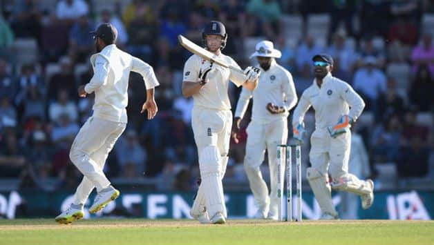 Jos Buttler was eventually out for 69. The new ball brought the wicket, with Buttler hit in line with the stumps by Ishant as he played all over an in-cutter.