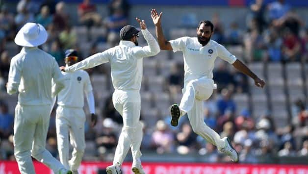 Mohammed Shami made sure that England didn't get too ahead with their lead as he had Stuart Broad (0) caught behind off the very first ball of the day