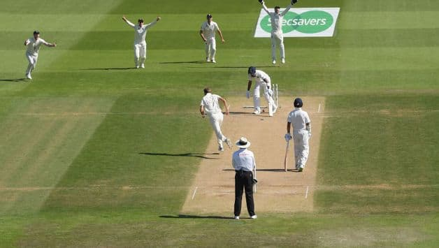 KL Rahul's (0) struggles against the incoming delivery continues when he was bowled off Stuart Broad. He was unlucky to get a low toe-edge that deflected onto his stumps.