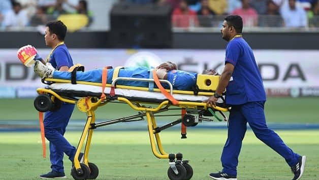 India allrounder Hardik Pandya was stretchered off the pitch at the Dubai International Stadium, Dubai on Wednesday during Match 5 of the Asia Cup 2018 between India and P Pakistan.