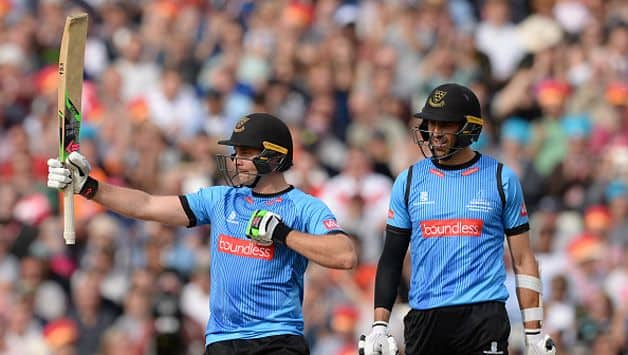 Powered by skipper Luke Wright and David Weise's 120-run stand in just 9.5 overs which included a 31-run over by Jamie Porter, Sussex posted 202 for eight