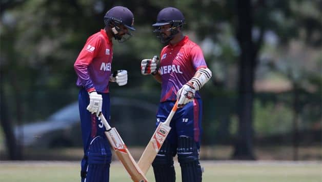 Dipendra Singh Airee and Aarif Sheikh then put on a 101-run stand for the sixth wicket to help Nepal to 188 for seven in 30 overs. (ACC Image)