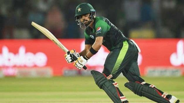 Pakistan opener Babar Azam notched scores of 68, 45* and 50 in the three-match T20I series. @ AFP
