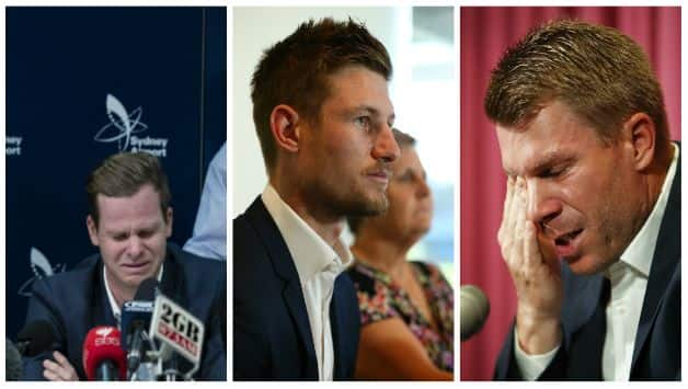 Steve Smith and David Warner were handed one-year suspensions, while Cameron Bancroft was banned for nine months for their involvement in the ball-tampering scandal. @ Getty