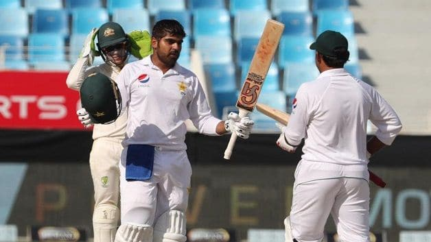 Haris Sohail scored a maiden Test century on Day 2 of the first Test against Australia in Dubai on Monday. @ AFP