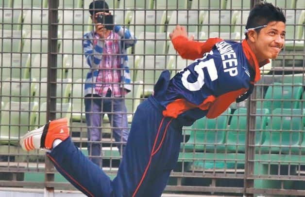 Nepal's leg-spinner Sandeep Lamichhane claimed 3/4 in his four overs. @ AFP