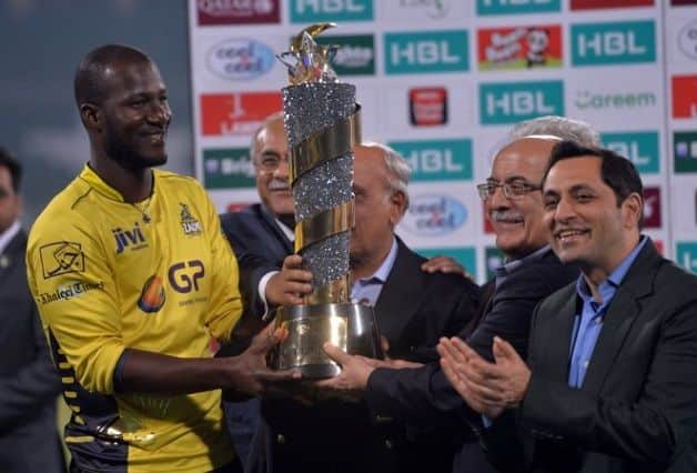 Darren Sammy, one of the international stars, at the 2018 PSL. @ AFP
