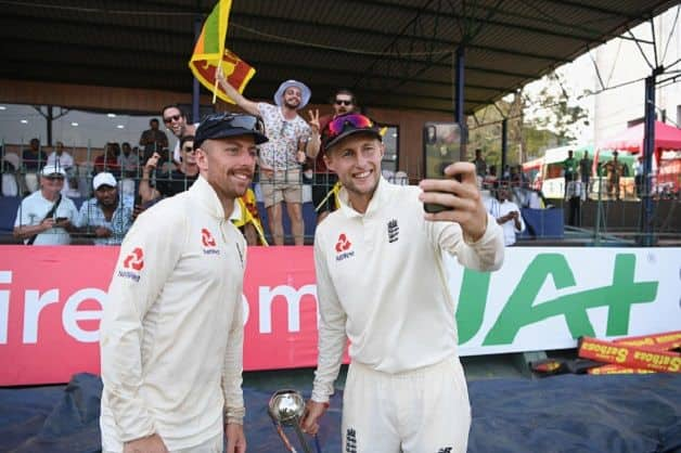 England captain Joe Root and Jack Leach. @ Getty Images