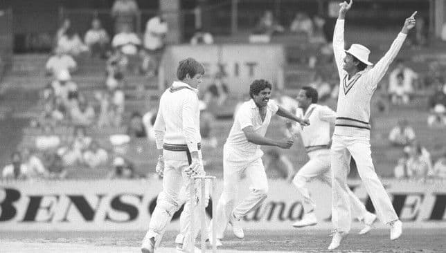 Kapil Dev celebrates taking the last Australian wicket at the MCG