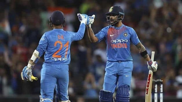 Virat Kohli, who brought up his 18th T20I half century and remained unbeaten on 61, stitched a crucial 60-run partnership for the fifth wicket with Dinesh Karthik as the duo took India to the finish line with two balls to spare. @ AFP