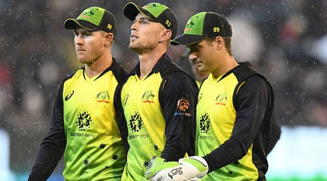 On a cold, grey day Australia were unable to build any meaningful partnerships with Ben McDermott their top scorer on 32 before the heavens opened and they forced off after 19 overs.