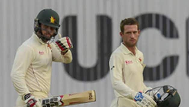 Zimbabwe, who set a target of 443 runs to win the second Test against Bangladesh, reached 76-2 before bad light brought an early stumps on the fourth day in Dhaka on Monday.