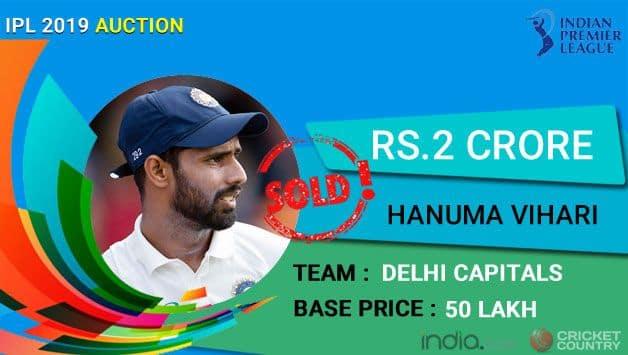 IPL Auction 2019: Hanuma Vihari first purchase at Rs 2 crore by Delhi Capitals