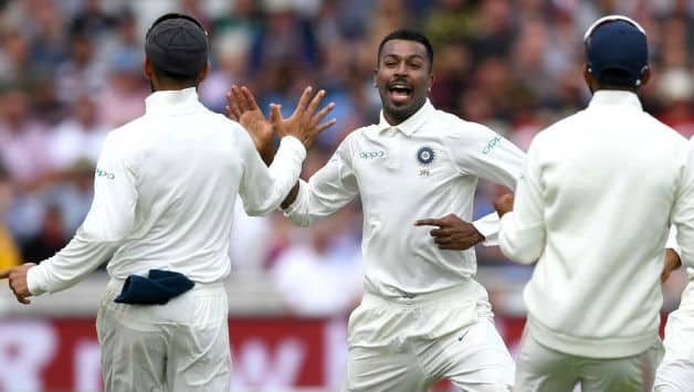 Hardik Pandya celebrates dismissing Chris Woakes