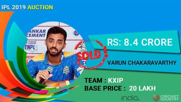 IPL Auction 2019: Uncapped Varun Chakravarthy sold for Rs 8.4 crore to KXIP