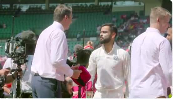 Indian cricketers gives signed pink cap to Glenn McGrath at Sydney