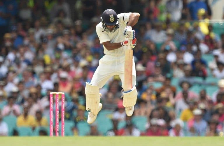 Mayank Agarwal was regularly tested by the short ball.