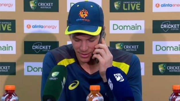 """Tim Paine speaking,"" Australia captain answers journalist's phone in middle of presser"