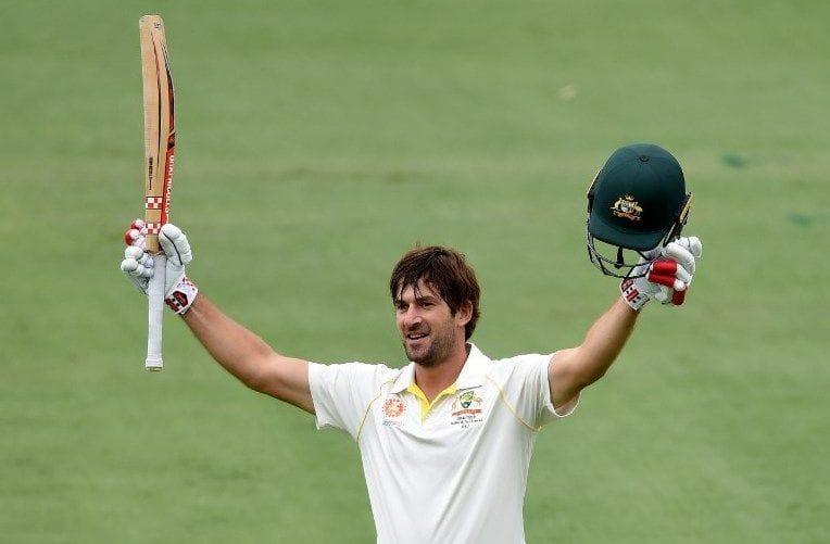 Joe Burns celebrates his fourth Test century.