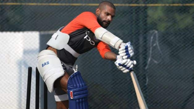 Shikhar Dhawan is practising with tennis ball to counter bouncer