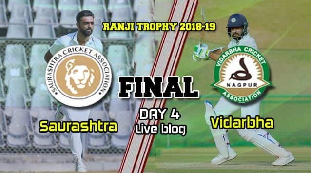 Ranji Trophy 2018-19 Final Live Cricket Score, Day 4: At stumps, Saurashtra 58/5 in chase of 206