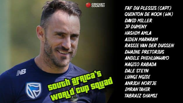 South Africa 2019 World cup team