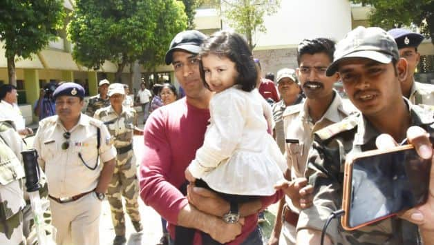 MS Dhoni casts vote, daughter Ziva urges people to do the same