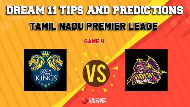 Dream11 Team Lyca Kovai Kings vs VB Kanchi Veerans Match 4 TNPL – Cricket Prediction Tips For Today's T20 Match LYC vs VBK at NPR College Ground, Dindigul