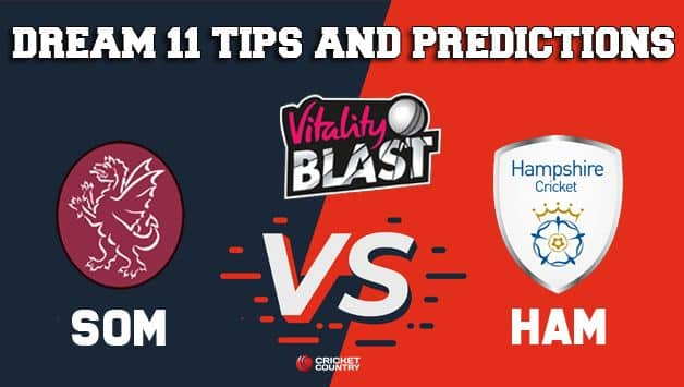 Dream11 Team Somerset vs Hampshire South Group VITALITY T20 BLAST ENGLISH T20 BLAST – Cricket Prediction Tips For Today's T20 Match SOM vs HAM at Taunton