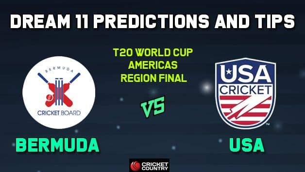 BER vs USA Dream11 Team Bermuda vs USA AMERICAS REGION FINAL-T20 ICC Men's T20 World Cup Americas Region Final – Cricket Prediction Tips For Today's T20 Match at Sandys Parish