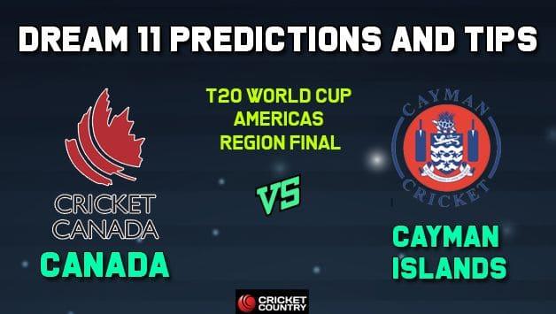 CAN vs CAY Dream11 Team Canada vs Cayman Islands AMERICAS REGION FINAL-T20 ICC Men's T20 World Cup Americas Region Final – Cricket Prediction Tips For Today's T20 Match at Sandys Parish