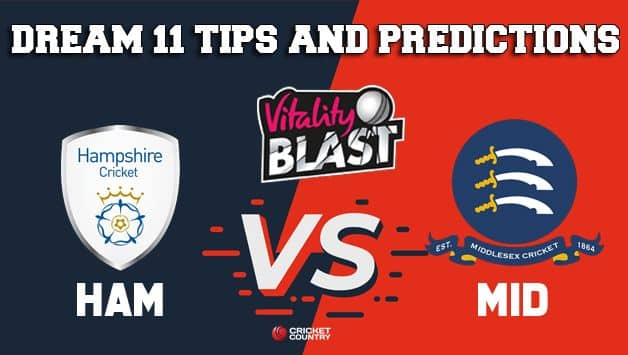 Dream11 Team Hampshire VS Middlesex Match T20 BLAST 2019 2019 T20 Blast – Cricket Prediction Tips For Today's T20 Match HAM vs MID at London