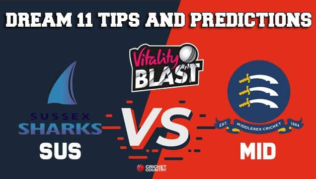 Dream11 Team Sussex vs Middlesex South Group VITALITY T20 BLAST ENGLISH T20 BLAST – Cricket Prediction Tips For Today's T20 Match SUS vs MID at Uxbridge